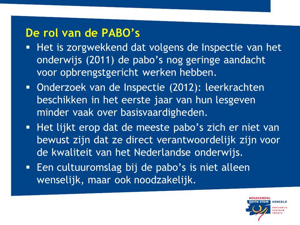De rol van de PABO's  Het is zorgwekkend dat volgens de Inspectie van het onderwijs (2011) de pabo's nog geringe aandacht voor opbrengstgericht werke