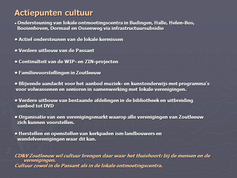 Actiepunten cultuur Ondersteuning van lokale ontmoetingscentra in Budingen, Halle, Helen-Bos, Ondersteuning van lokale ontmoetingscentra in Budingen,