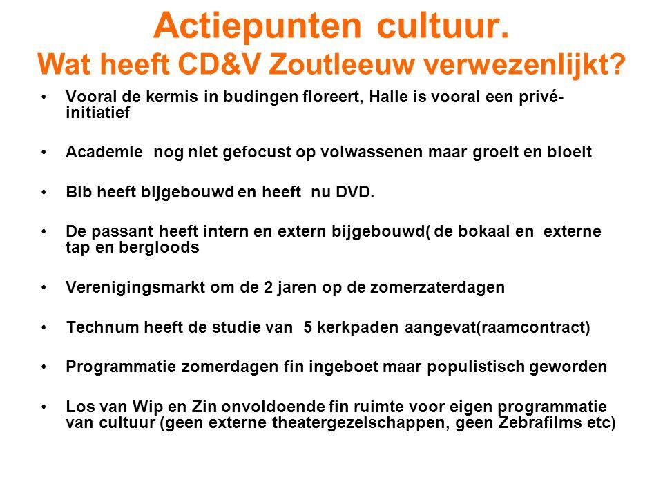 Actiepunten cultuur. Wat heeft CD&V Zoutleeuw verwezenlijkt? Vooral de kermis in budingen floreert, Halle is vooral een privé- initiatief Academie nog