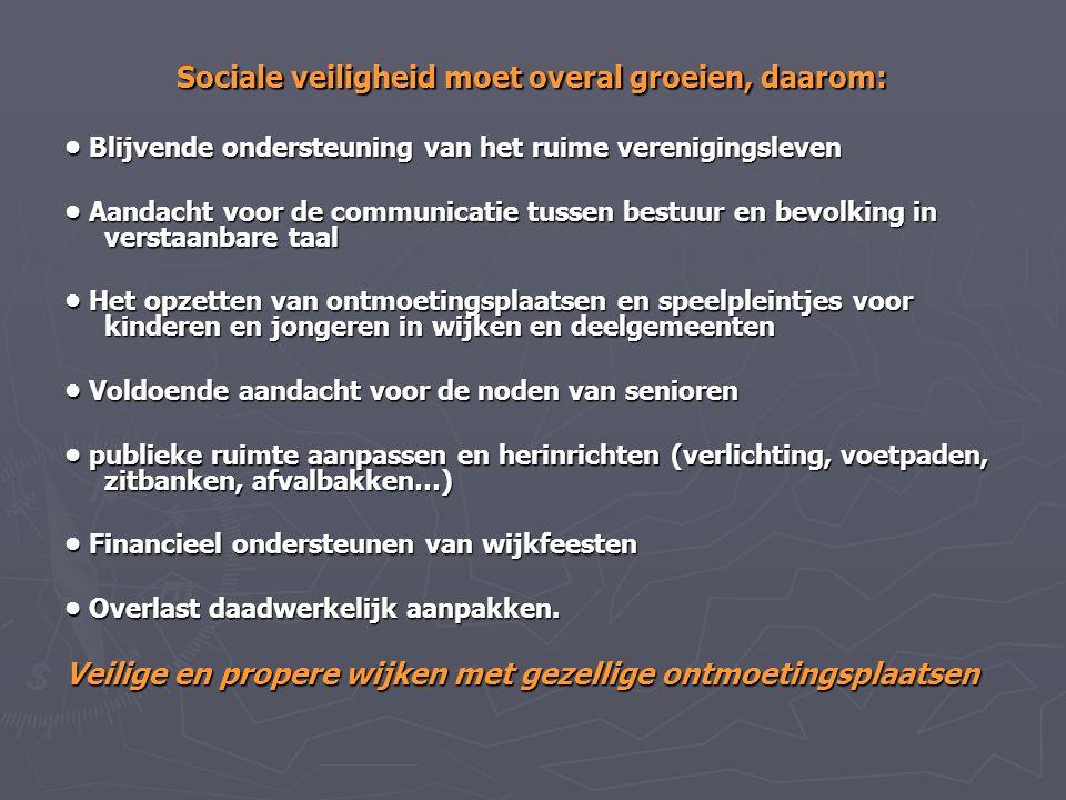 Sociale veiligheid moet overal groeien, daarom: Blijvende ondersteuning van het ruime verenigingsleven Blijvende ondersteuning van het ruime verenigin