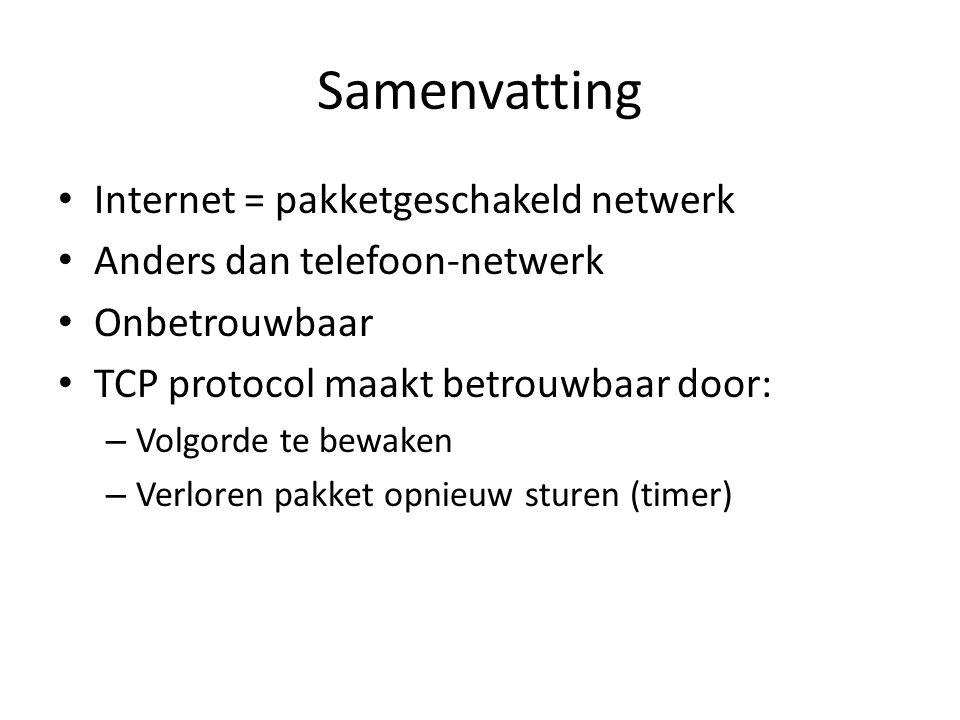 Samenvatting Internet = pakketgeschakeld netwerk Anders dan telefoon-netwerk Onbetrouwbaar TCP protocol maakt betrouwbaar door: – Volgorde te bewaken – Verloren pakket opnieuw sturen (timer)