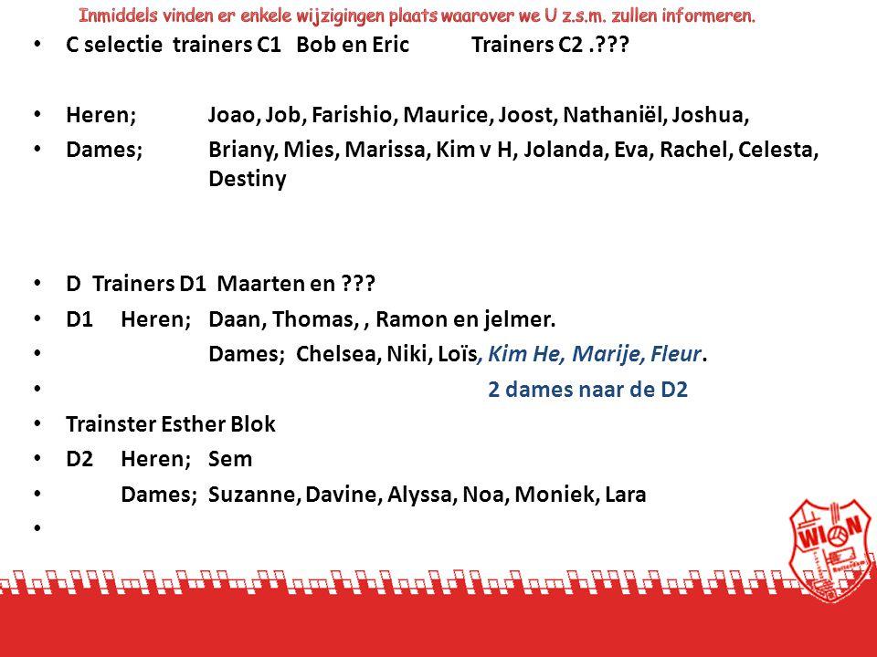 C selectie trainers C1 Bob en EricTrainers C2.??? Heren; Joao, Job, Farishio, Maurice, Joost, Nathaniël, Joshua, Dames; Briany, Mies, Marissa, Kim v H