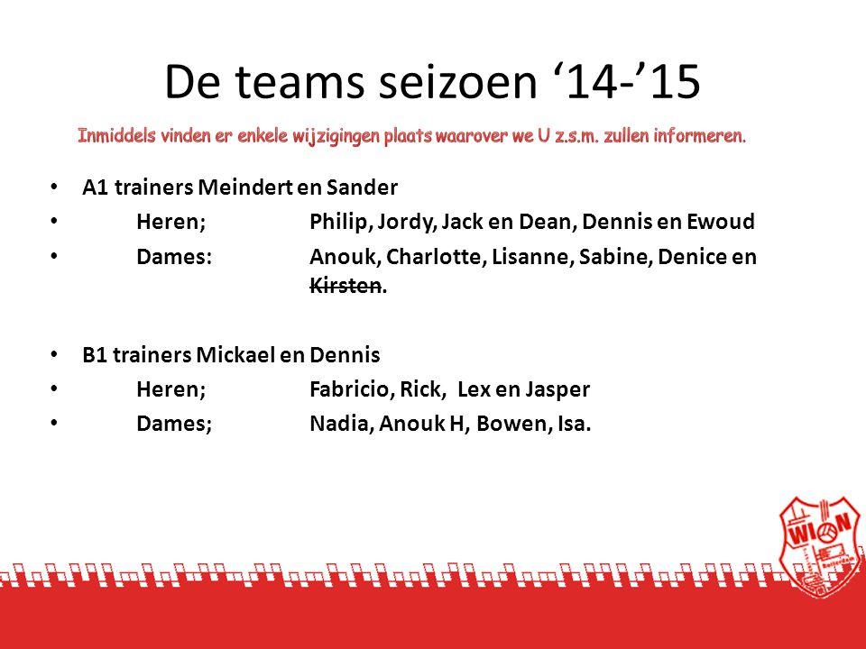 De teams seizoen '14-'15 A1 trainers Meindert en Sander Heren; Philip, Jordy, Jack en Dean, Dennis en Ewoud Dames: Anouk, Charlotte, Lisanne, Sabine,
