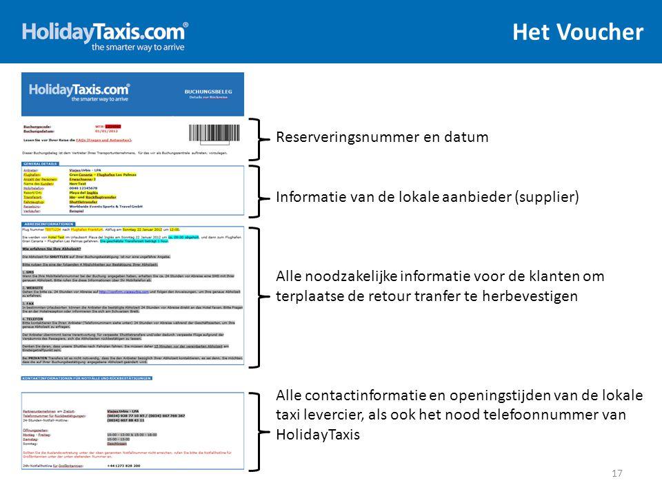 Het Voucher 17 Reserveringsnummer en datum Informatie van de lokale aanbieder (supplier) Alle noodzakelijke informatie voor de klanten om terplaatse d