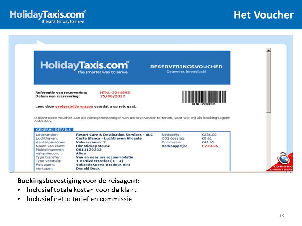 Het Voucher 18 Boekingsbevestiging voor de reisagent: Inclusief totale kosten voor de klant Inclusief netto tarief en commissie
