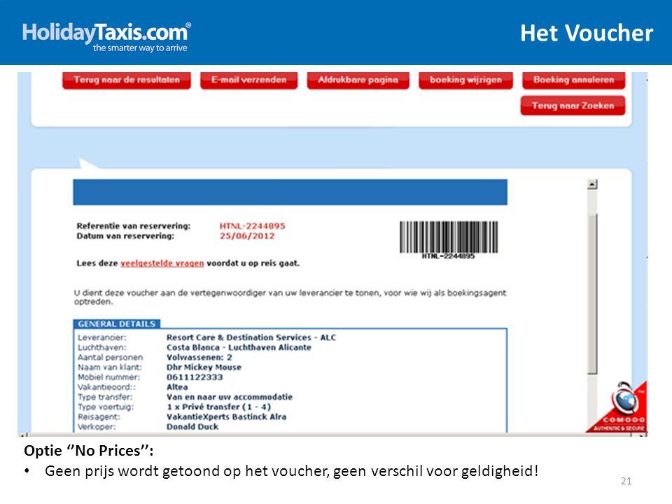 Het Voucher 21 Optie ''No Prices'': Geen prijs wordt getoond op het voucher, geen verschil voor geldigheid!
