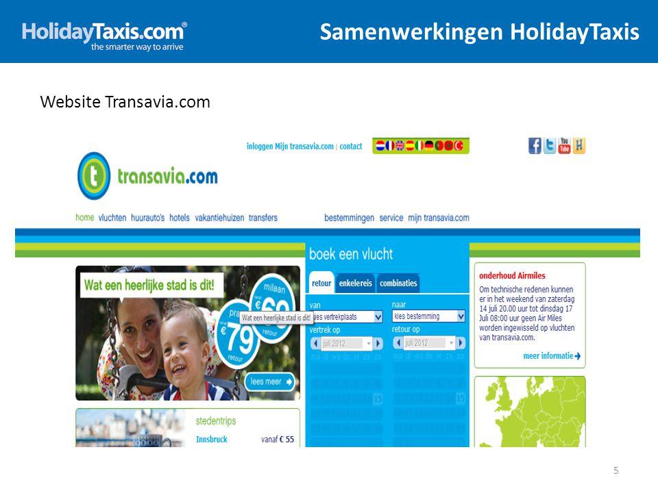 Samenwerkingen HolidayTaxis 6 Website Transavia.com – powered by HolidayTaxis