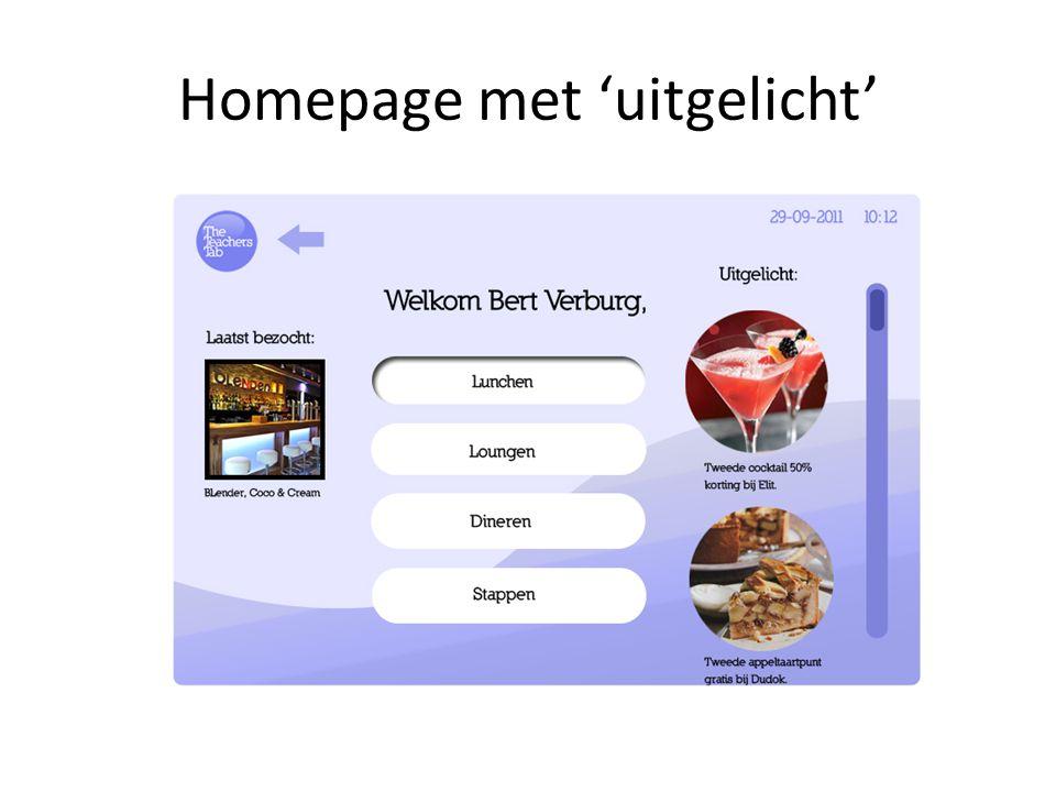 Homepage met 'uitgelicht'