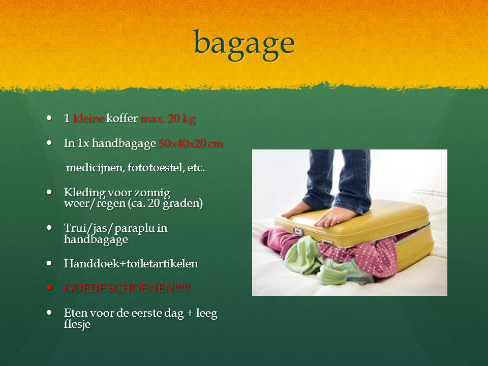 bagage 1 kleine koffer max. 20 kg 1 kleine koffer max. 20 kg In 1x handbagage 50x40x20 cm In 1x handbagage 50x40x20 cm medicijnen, fototoestel, etc. m