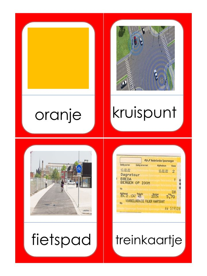 oranje kruispunt fietspad treinkaartje