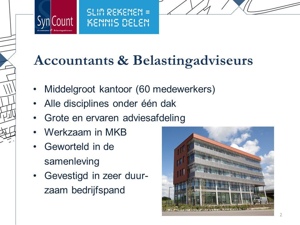 Accountants & Belastingadviseurs Middelgroot kantoor (60 medewerkers) Alle disciplines onder één dak Grote en ervaren adviesafdeling Werkzaam in MKB Geworteld in de samenleving Gevestigd in zeer duur- zaam bedrijfspand 2