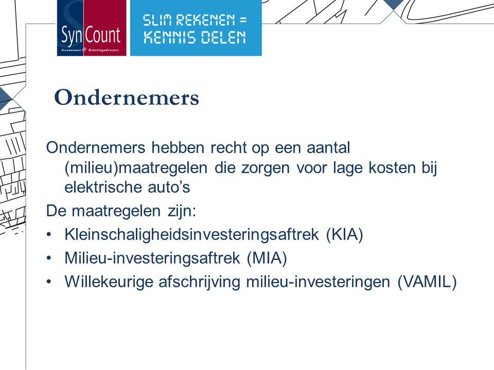 Subsidiemogelijkheden KIA   aflopend percentage van de investering tussen 2.300 en 306.931, maar tot 55.248 is dit 28% MIA   vast percentage van de investering van 36% VAMIL   vrij afschrijven in jaar van aanschaf tot maximaal 75% van de investering