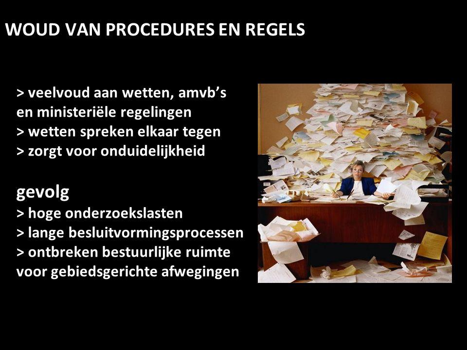 > veelvoud aan wetten, amvb's en ministeriële regelingen > wetten spreken elkaar tegen > zorgt voor onduidelijkheid gevolg > hoge onderzoekslasten > l