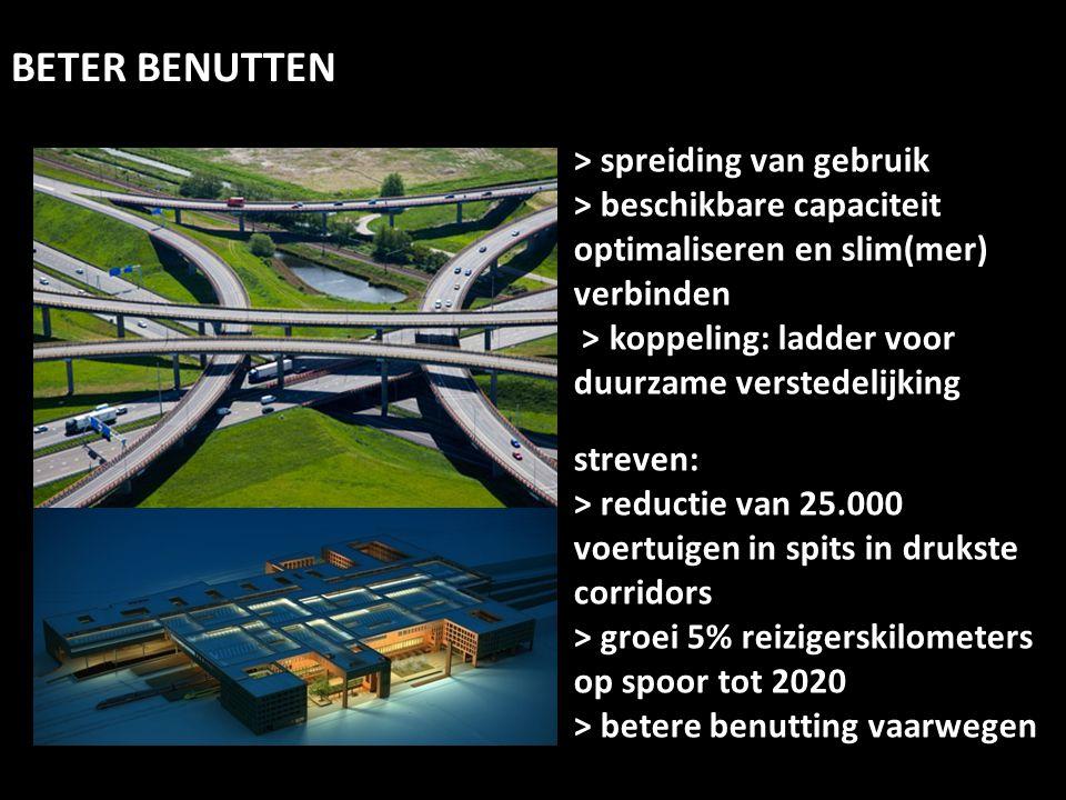 > spreiding van gebruik > beschikbare capaciteit optimaliseren en slim(mer) verbinden > koppeling: ladder voor duurzame verstedelijking streven: > red