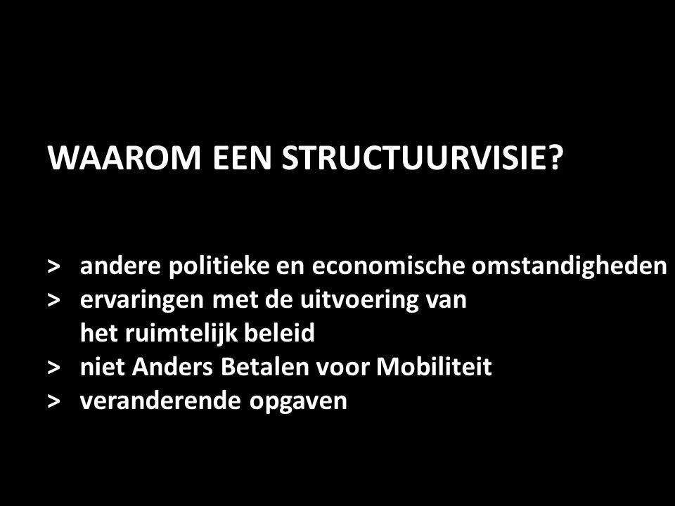 WAAROM EEN STRUCTUURVISIE? > andere politieke en economische omstandigheden > ervaringen met de uitvoering van het ruimtelijk beleid > niet Anders Bet