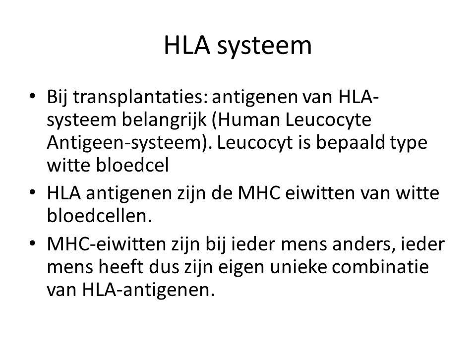 HLA systeem Bij transplantaties: antigenen van HLA- systeem belangrijk (Human Leucocyte Antigeen-systeem). Leucocyt is bepaald type witte bloedcel HLA