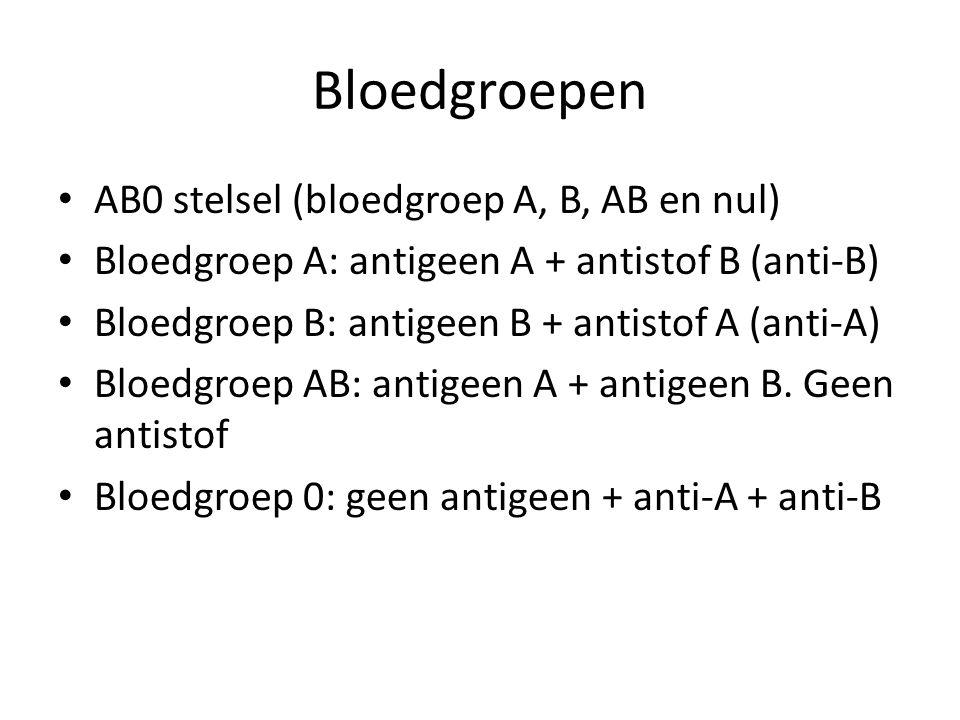 Bloedgroepen AB0 stelsel (bloedgroep A, B, AB en nul) Bloedgroep A: antigeen A + antistof B (anti-B) Bloedgroep B: antigeen B + antistof A (anti-A) Bloedgroep AB: antigeen A + antigeen B.