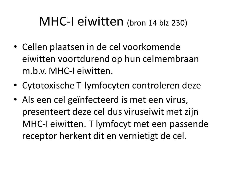 MHC-I eiwitten (bron 14 blz 230) Cellen plaatsen in de cel voorkomende eiwitten voortdurend op hun celmembraan m.b.v. MHC-I eiwitten. Cytotoxische T-l