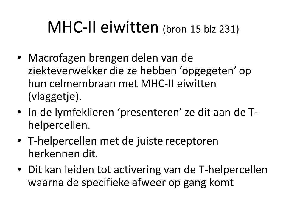 MHC-II eiwitten (bron 15 blz 231) Macrofagen brengen delen van de ziekteverwekker die ze hebben 'opgegeten' op hun celmembraan met MHC-II eiwitten (vlaggetje).