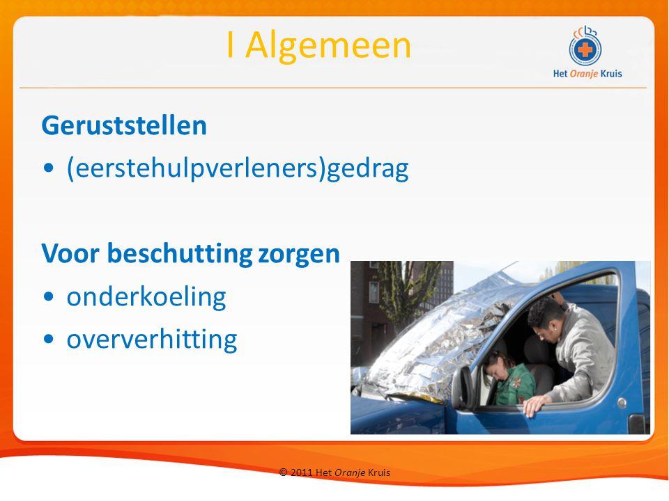 © 2011 Het Oranje Kruis 8 Onderkoeling Lichte onderkoeling (slachtoffer rilt) actief opwarmen → natte kleding uit, dekens, douche, kruiken, warme dranken (geen alcohol) III Letsels