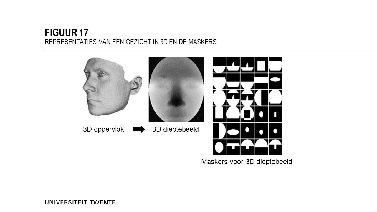 FIGUUR 17 REPRESENTATIES VAN EEN GEZICHT IN 3D EN DE MASKERS 3D oppervlak3D dieptebeeld Maskers voor 3D dieptebeeld