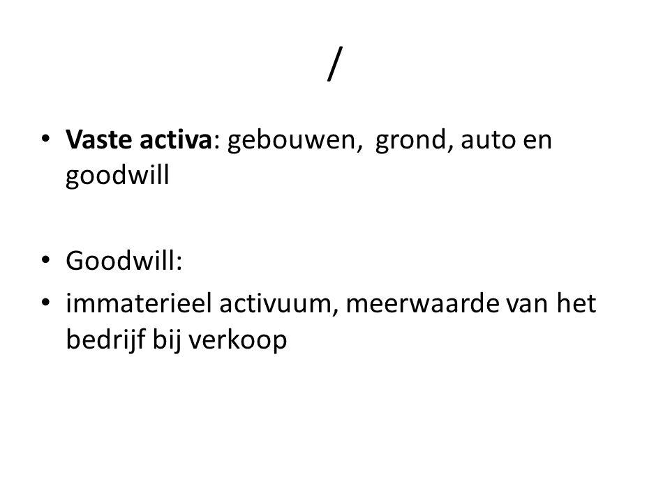 / Vaste activa: gebouwen, grond, auto en goodwill Goodwill: immaterieel activuum, meerwaarde van het bedrijf bij verkoop