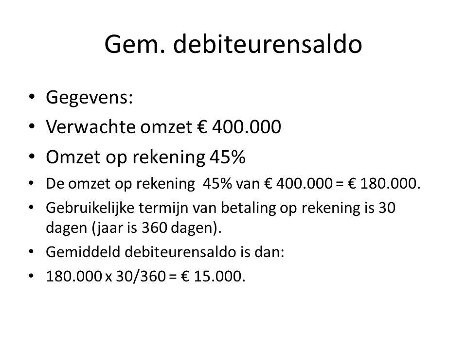 Gem. debiteurensaldo Gegevens: Verwachte omzet € 400.000 Omzet op rekening 45% De omzet op rekening 45% van € 400.000 = € 180.000. Gebruikelijke termi