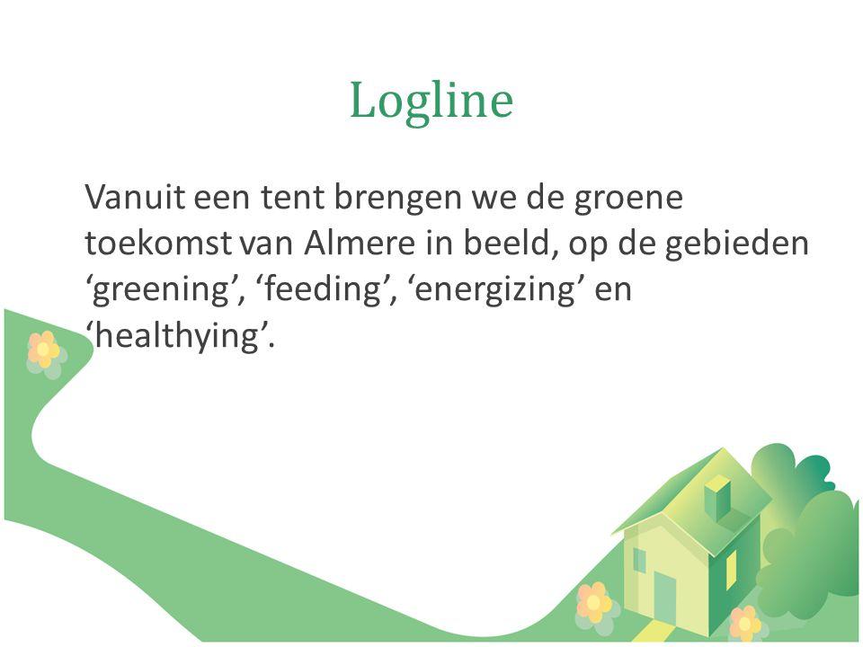 Logline Vanuit een tent brengen we de groene toekomst van Almere in beeld, op de gebieden 'greening', 'feeding', 'energizing' en 'healthying'.