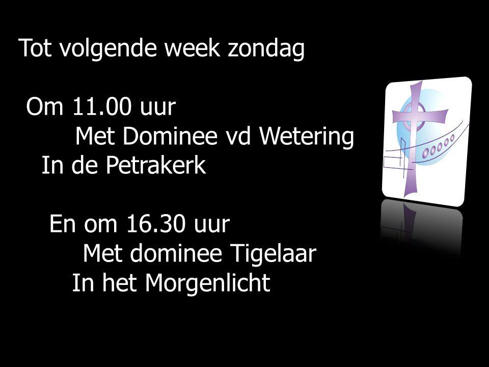 Tot volgende week zondag Om 11.00 uur Om 11.00 uur Met Dominee vd Wetering Met Dominee vd Wetering In de Petrakerk In de Petrakerk En om 16.30 uur En