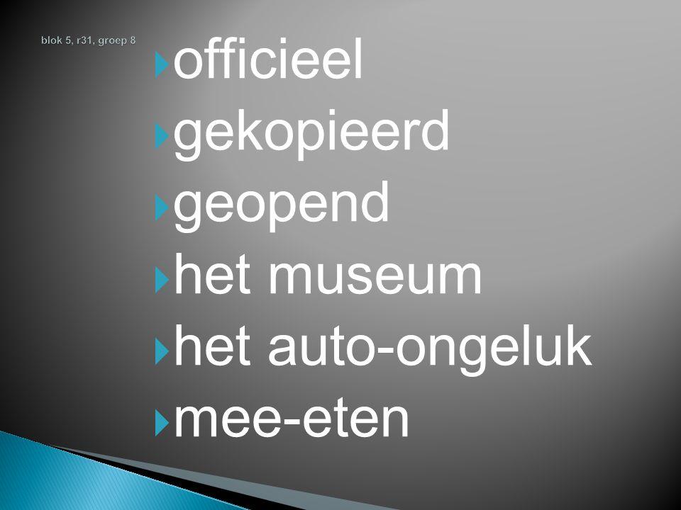  officieel  gekopieerd  geopend  het museum  het auto-ongeluk  mee-eten