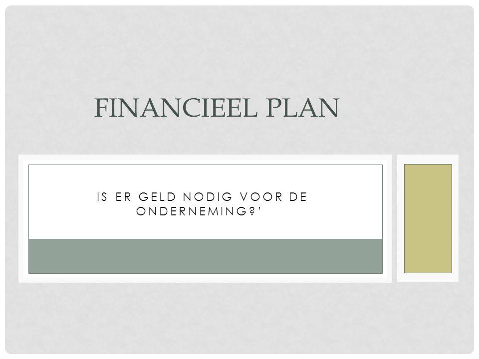 'IS ER GELD NODIG VOOR DE ONDERNEMING?' FINANCIEEL PLAN