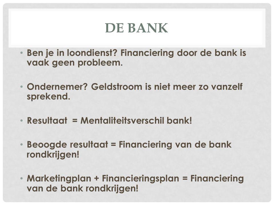 DE BANK Ben je in loondienst? Financiering door de bank is vaak geen probleem. Ondernemer? Geldstroom is niet meer zo vanzelf sprekend. Resultaat = Me