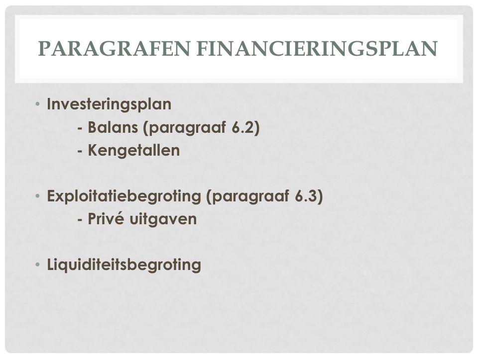 PARAGRAFEN FINANCIERINGSPLAN Investeringsplan - Balans (paragraaf 6.2) - Kengetallen Exploitatiebegroting (paragraaf 6.3) - Privé uitgaven Liquiditeit