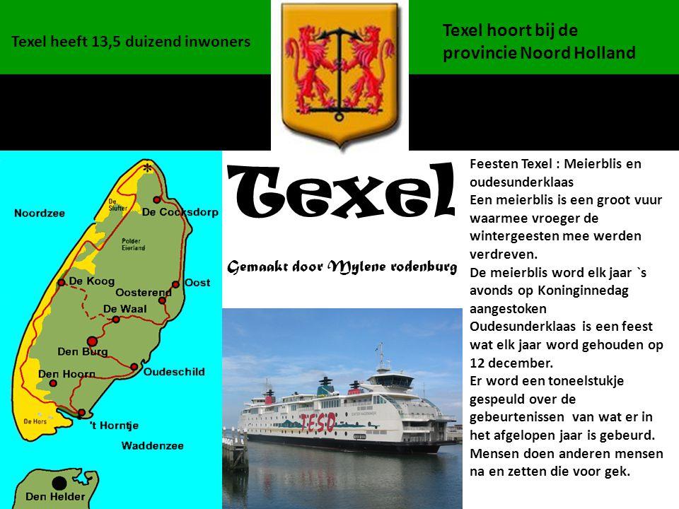 Gemaakt door Mylene rodenburg Texel Texel heeft 13,5 duizend inwoners Texel hoort bij de provincie Noord Holland Feesten Texel : Meierblis en oudesund