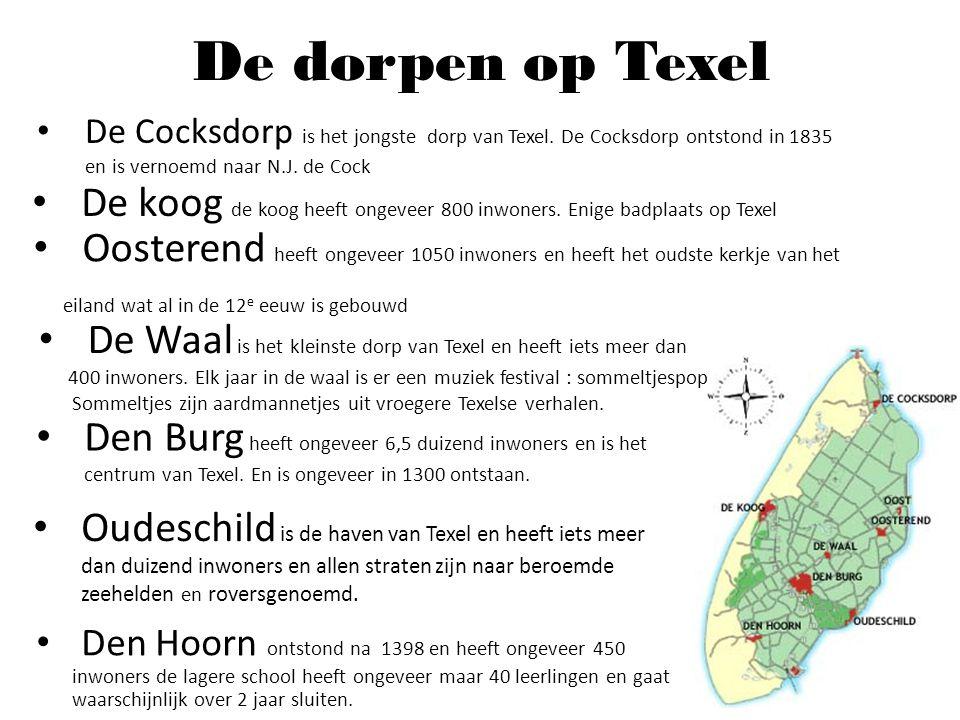 De dorpen op Texel Den Hoorn ontstond na 1398 en heeft ongeveer 450 inwoners de lagere school heeft ongeveer maar 40 leerlingen en gaat waarschijnlijk
