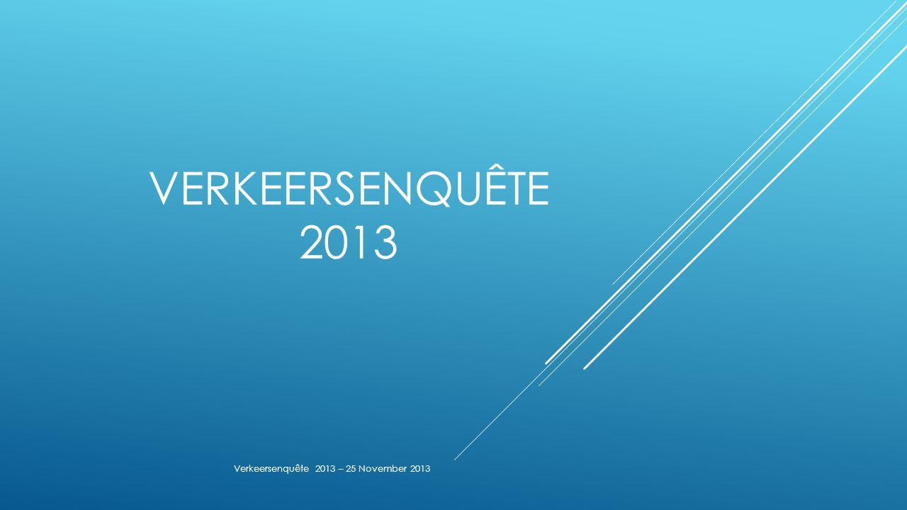 VERKEERSENQUÊTE 2013 Verkeersenquête 2013 – 25 November 2013