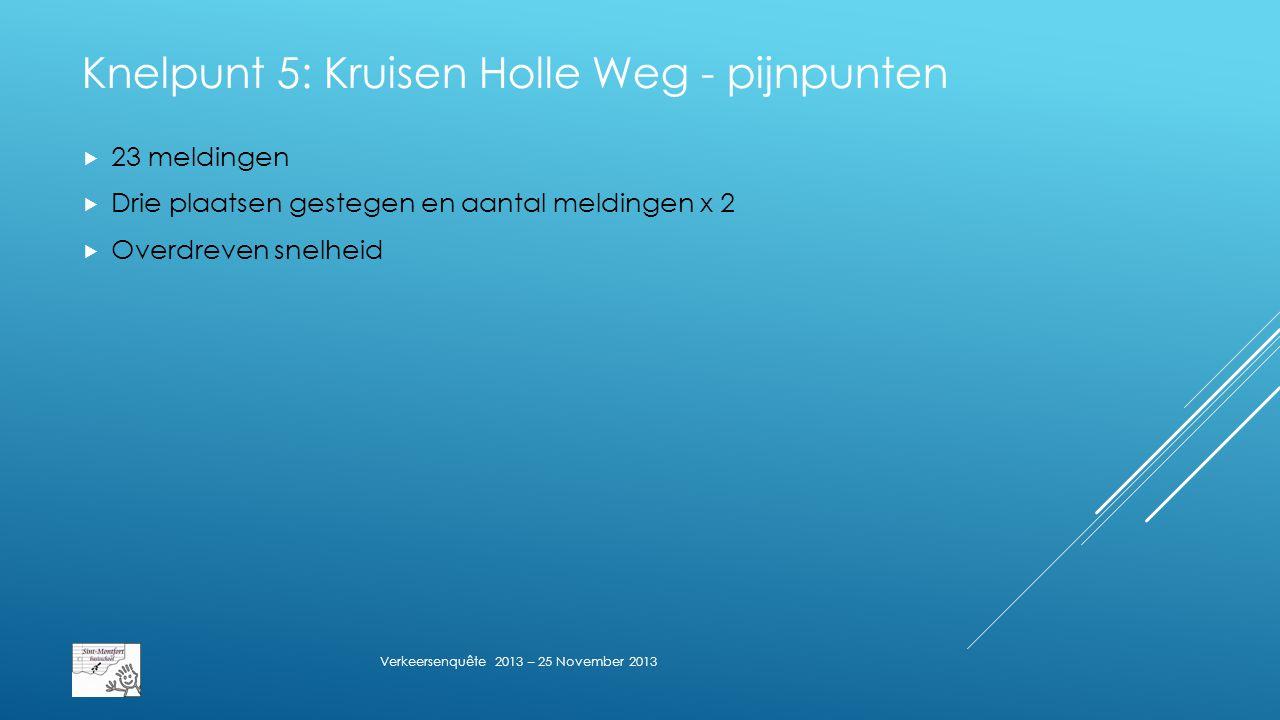 Knelpunt 5: Kruisen Holle Weg - pijnpunten  23 meldingen  Drie plaatsen gestegen en aantal meldingen x 2  Overdreven snelheid Verkeersenquête 2013 – 25 November 2013
