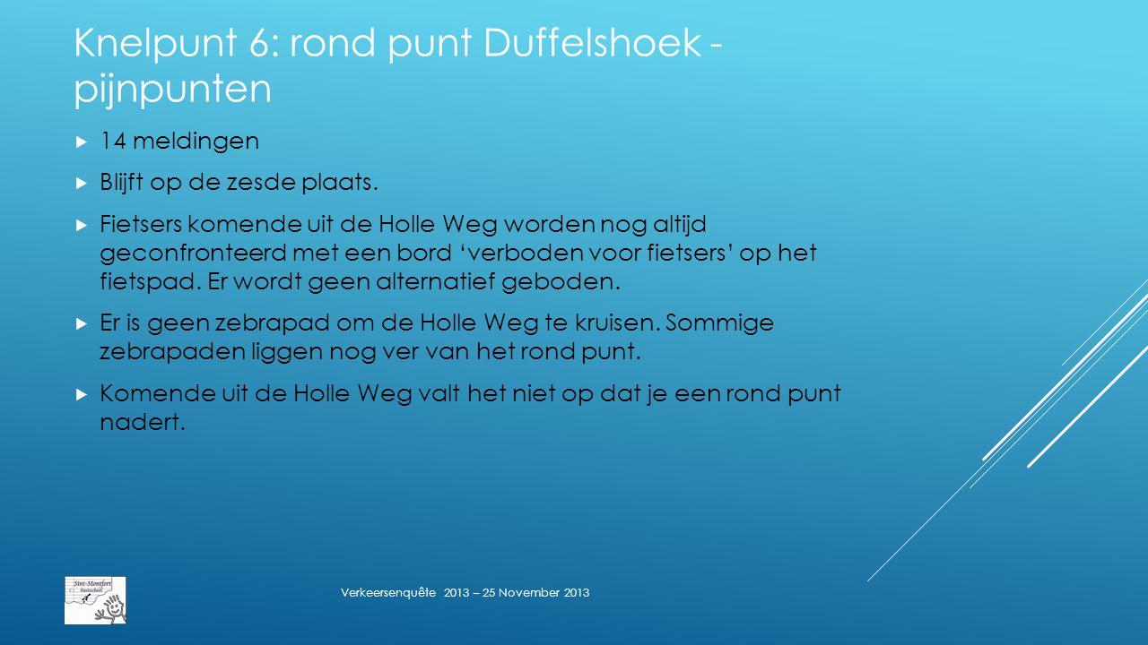 Knelpunt 6: rond punt Duffelshoek - pijnpunten  14 meldingen  Blijft op de zesde plaats.