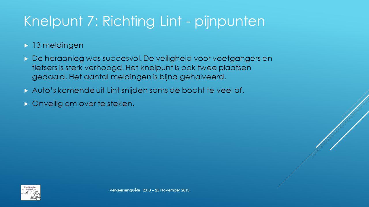 Knelpunt 7: Richting Lint - pijnpunten  13 meldingen  De heraanleg was succesvol.