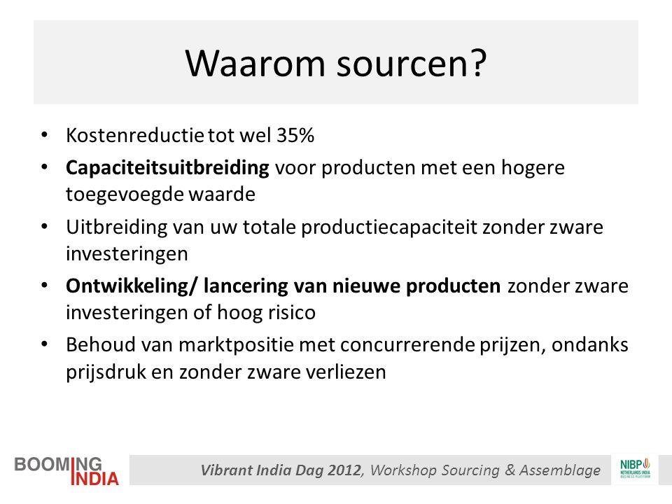 Vibrant India Dag 2012, Workshop Sourcing & Assemblage Waarom sourcen? Kostenreductie tot wel 35% Capaciteitsuitbreiding voor producten met een hogere