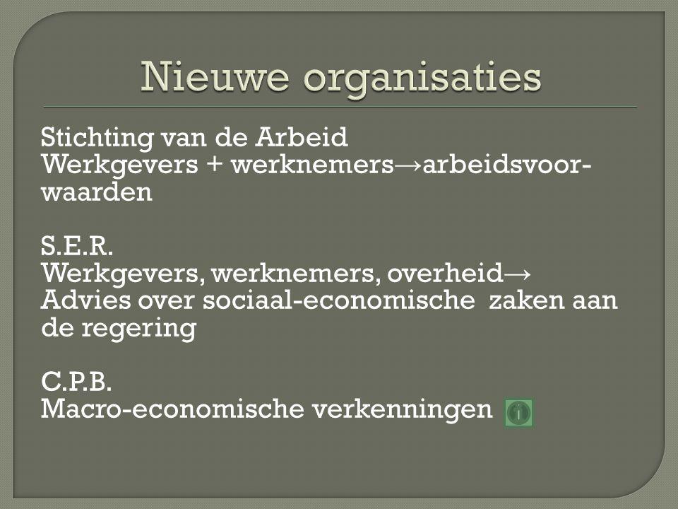 Stichting van de Arbeid Werkgevers + werknemers → arbeidsvoor- waarden S.E.R. Werkgevers, werknemers, overheid → Advies over sociaal-economische zaken