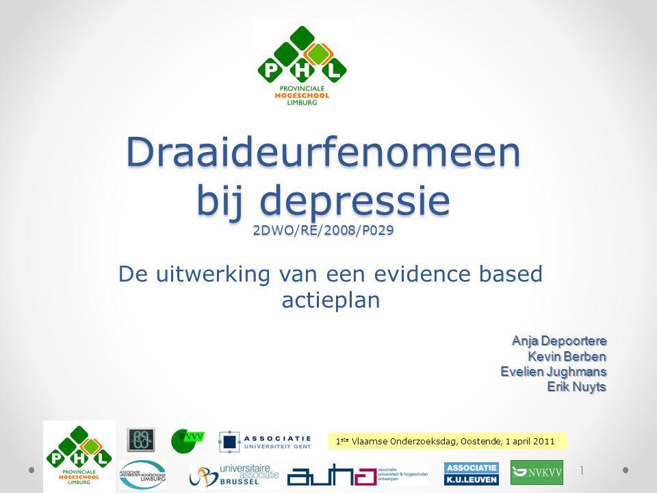 1 ste Vlaamse Onderzoeksdag, Oostende, 1 april 2011 Plaats hierover uw logo De uitwerking van een evidence based actieplan 1 Draaideurfenomeen bij dep