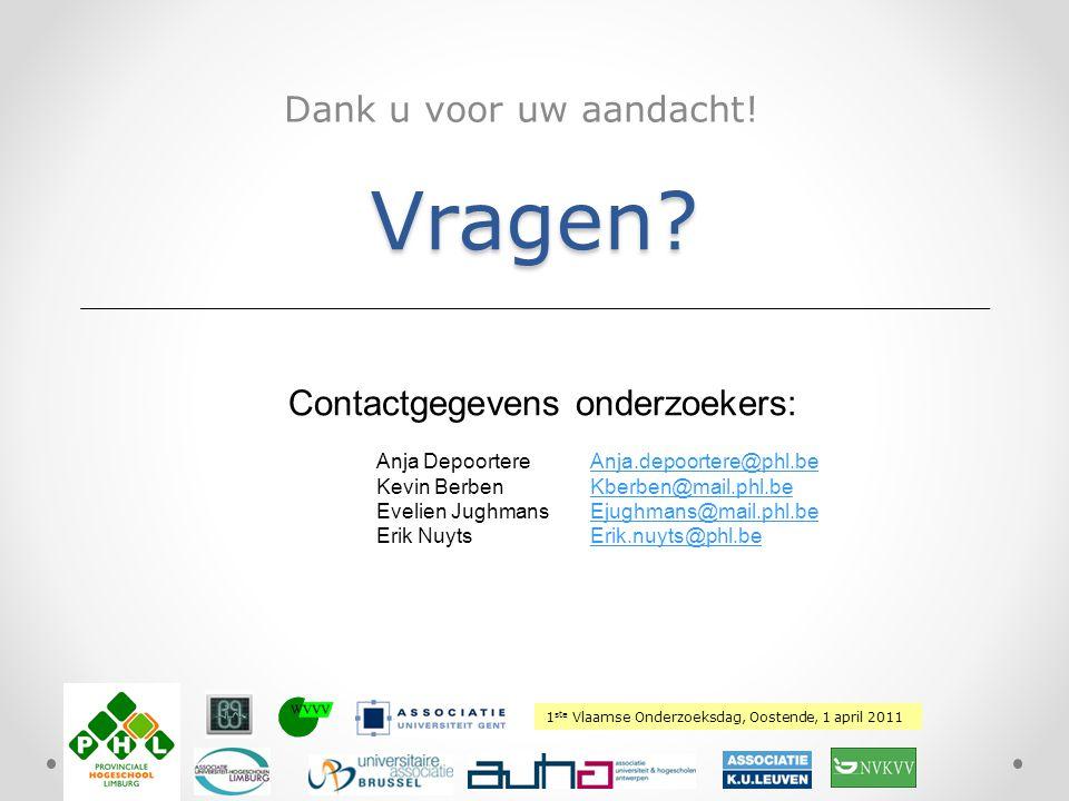 1 ste Vlaamse Onderzoeksdag, Oostende, 1 april 2011 Plaats hierover uw logo Vragen? Dank u voor uw aandacht! Contactgegevens onderzoekers: Anja Depoor