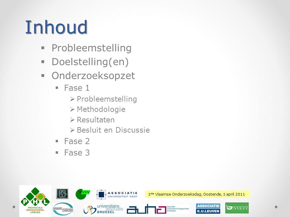 1 ste Vlaamse Onderzoeksdag, Oostende, 1 april 2011 Plaats hierover uw logo Inhoud  Probleemstelling  Doelstelling(en)  Onderzoeksopzet  Fase 1 