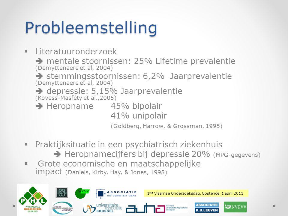 1 ste Vlaamse Onderzoeksdag, Oostende, 1 april 2011 Plaats hierover uw logo Doelstellingen Onderzoek naar  Prevalentie van heropname bij depressie  Factoren die bijdragen tot heropname  Gericht actieplan om herval bij patiënten met depressieve stoornissen te verminderen en herintegratie te optimaliseren