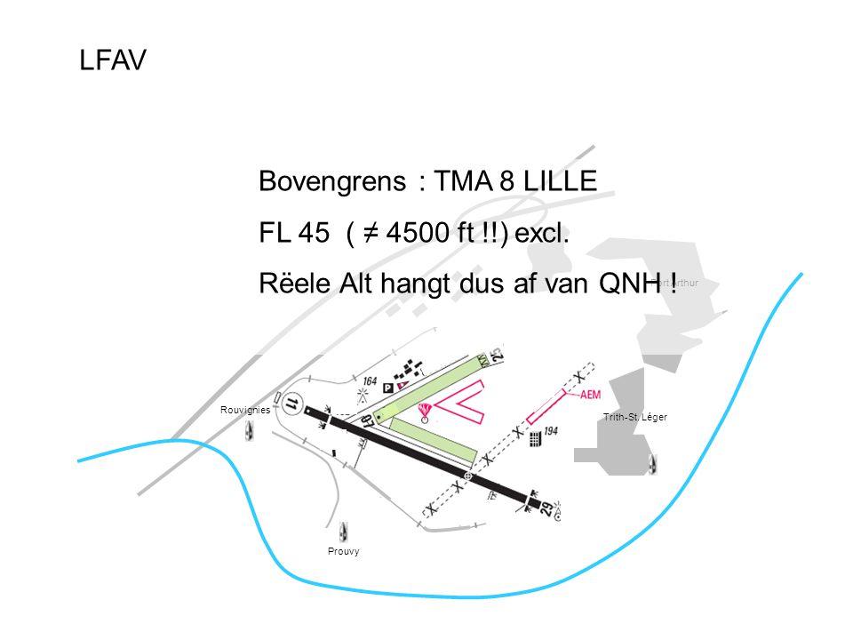 LFAV Port Arthur Trith-St. Léger Prouvy Rouvignies Bovengrens : TMA 8 LILLE FL 45 ( ≠ 4500 ft !!) excl. Rëele Alt hangt dus af van QNH !