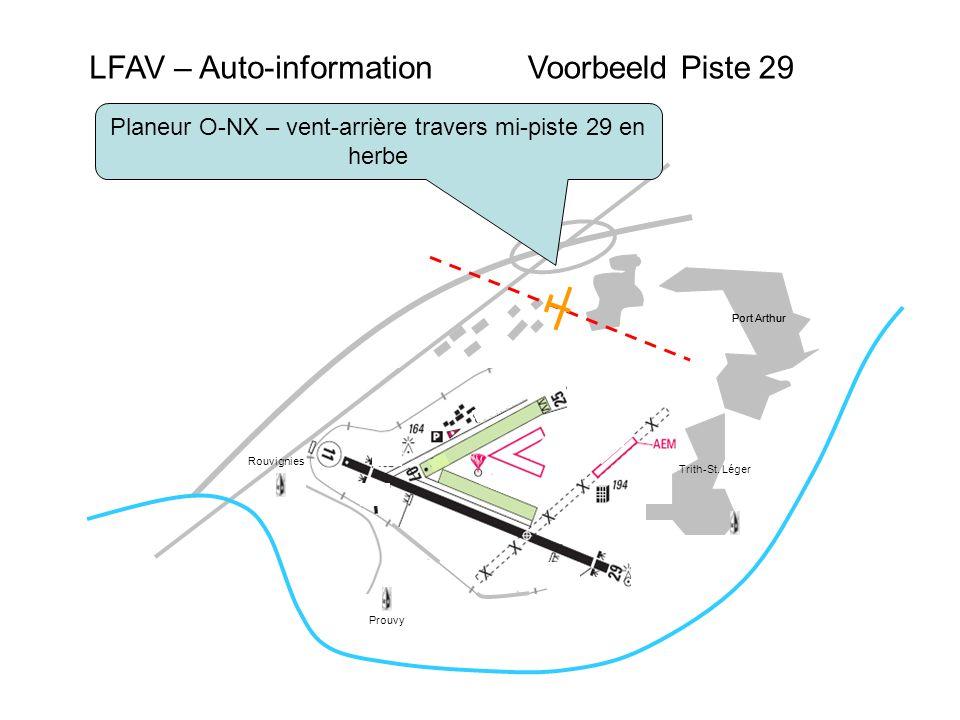 LFAV – Auto-informationVoorbeeld Piste 29 Port Arthur Prouvy Rouvignies Planeur O-NX – vent-arrière travers mi-piste 29 en herbe Trith-St.
