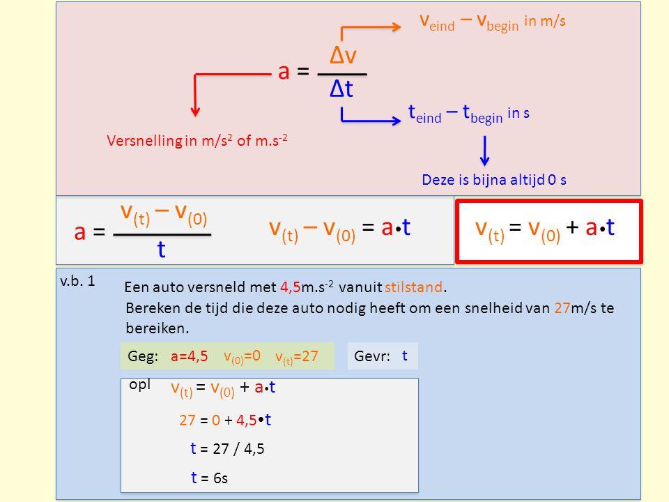 a = Δv Δt v eind – v begin in m/s t eind – t begin in s Versnelling in m/s 2 of m.s -2 v.b.
