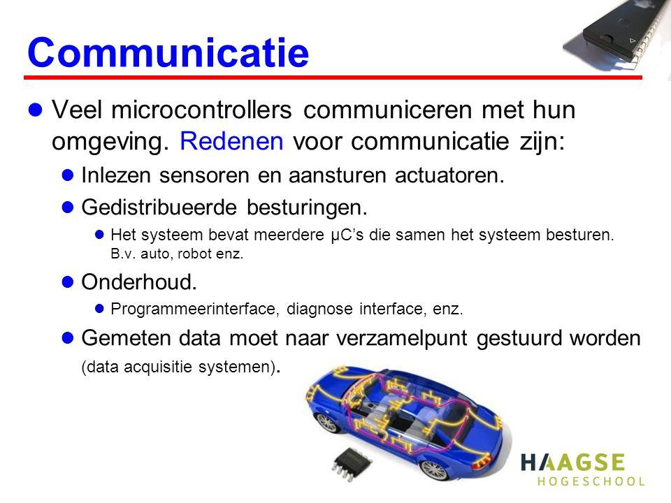 Communicatie Veel microcontrollers communiceren met hun omgeving. Redenen voor communicatie zijn: Inlezen sensoren en aansturen actuatoren. Gedistribu