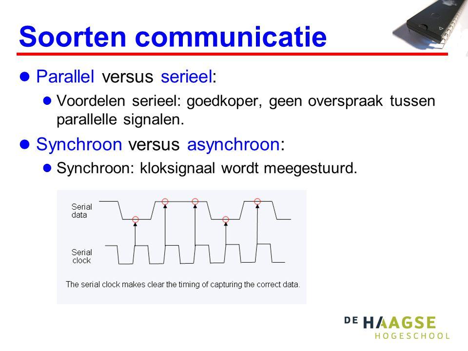 Soorten communicatie Parallel versus serieel: Voordelen serieel: goedkoper, geen overspraak tussen parallelle signalen. Synchroon versus asynchroon: S